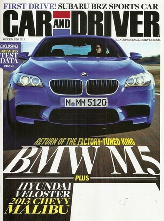 CAR AND DRIVER Magazine December 2011
